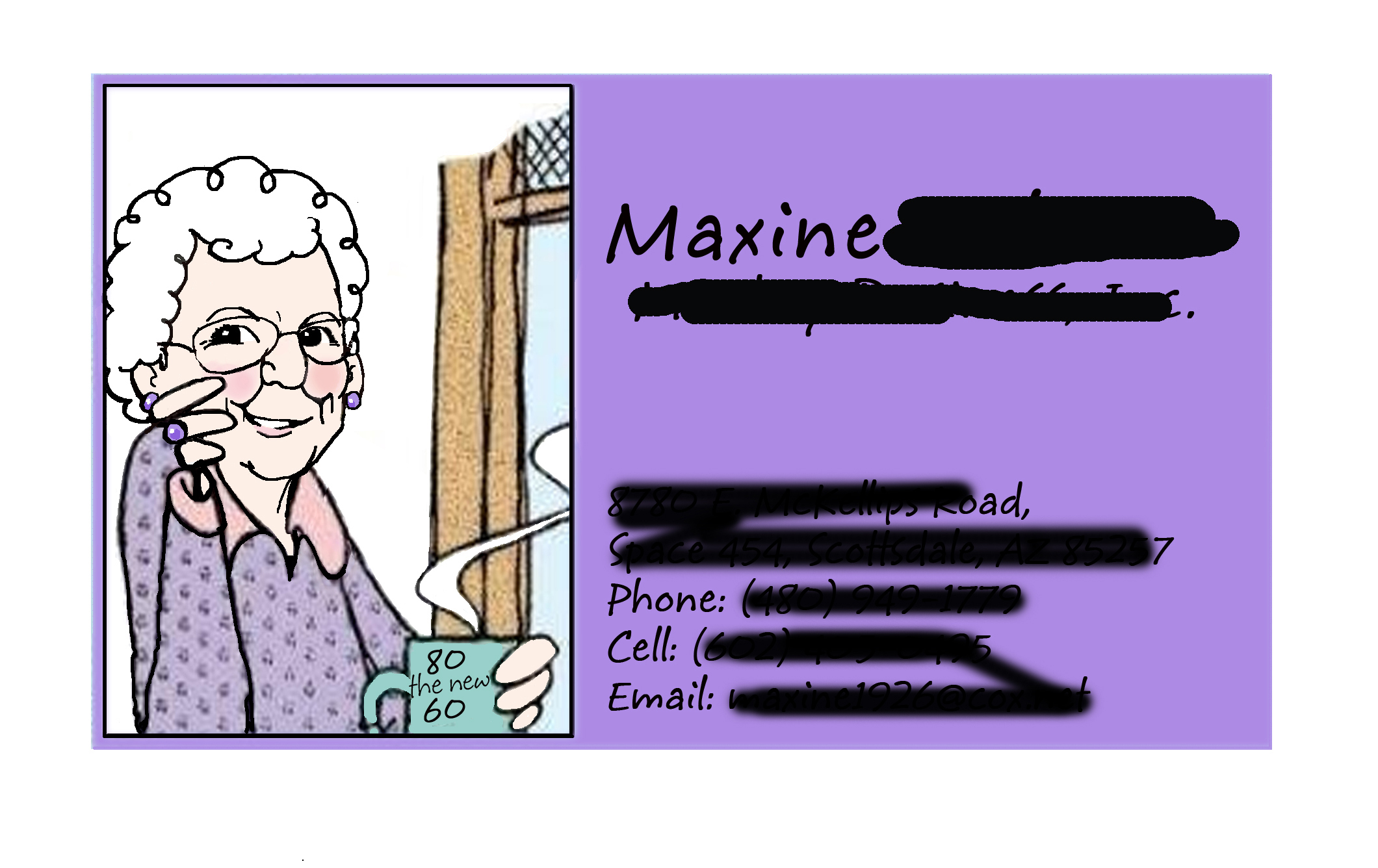 "The ""other"" Maxine, personalized gift card 