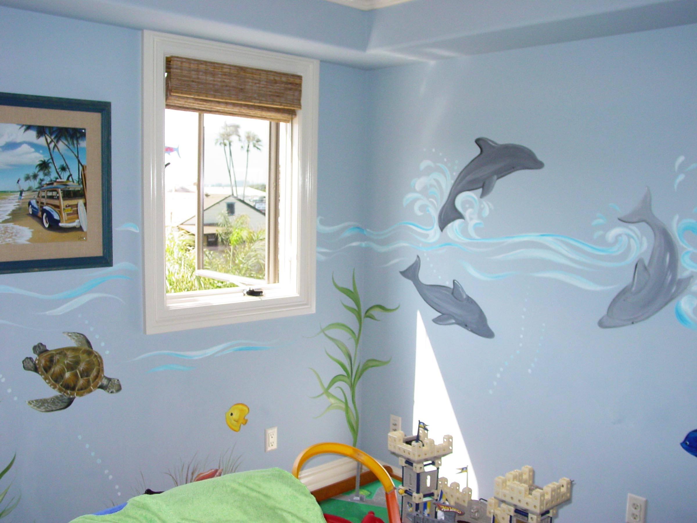Surfer dude boy s room decor mural sugarmanart for Beach mural bedroom
