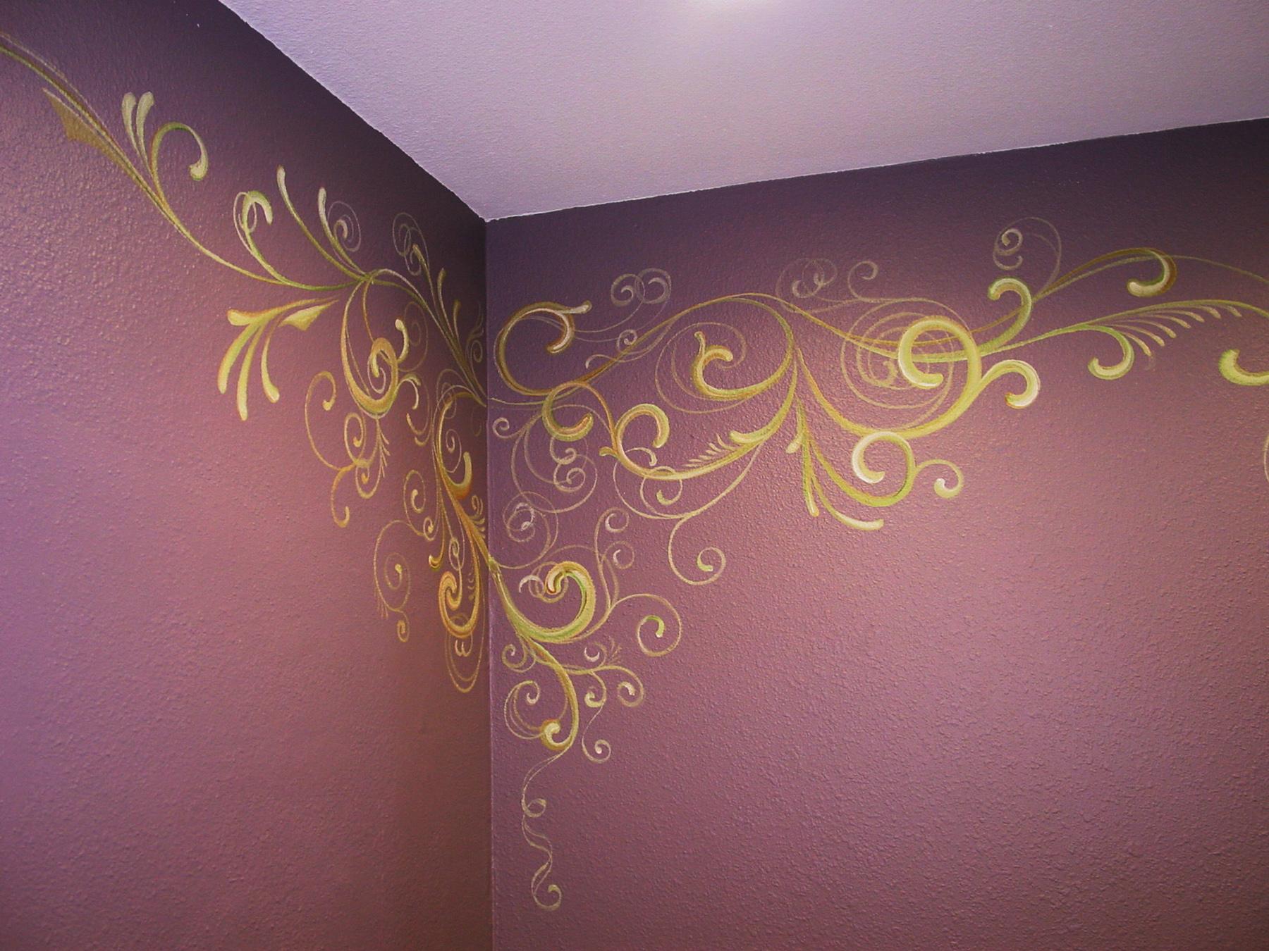 Bathroom decor � decorative painting swirly-girly | SugarmanArt