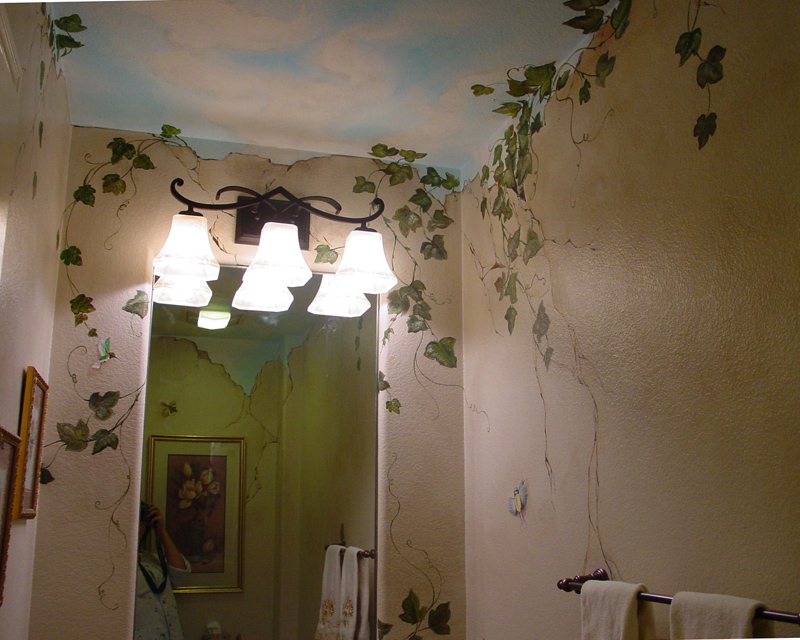 Renaissance Mural Grape Vines Birds Butterflies And
