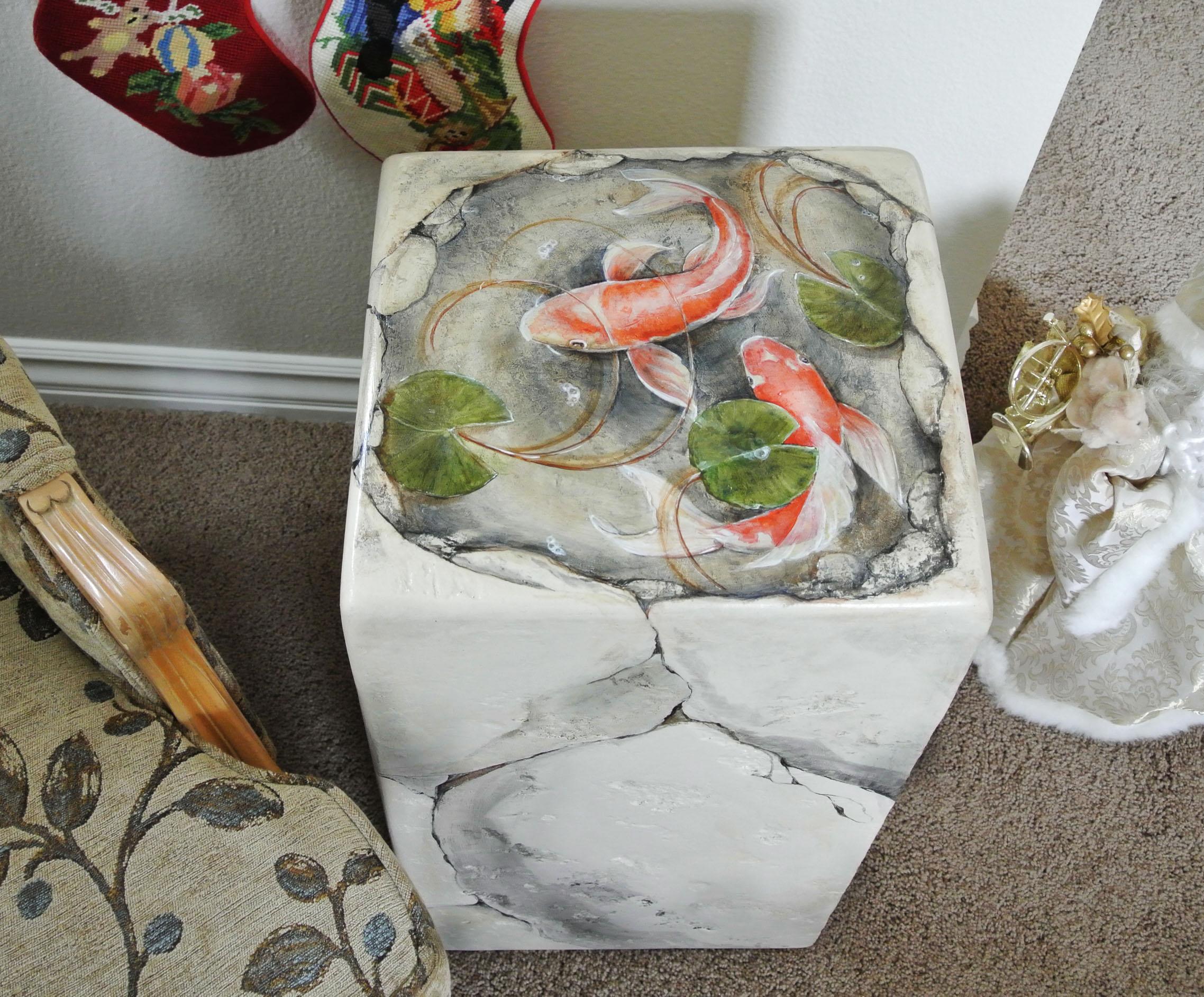 Decorative table koi pond hand painted decor sugarmanart for Pond decorative accessories
